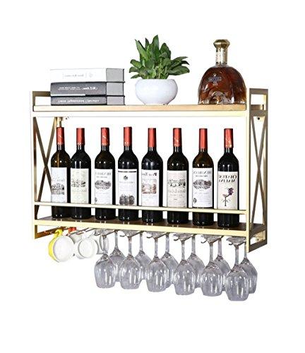 Betty & Co Wandhalterung aus Metall mit Weinregal und Weinglashalter Vintage Holz Flaschenhalter |...
