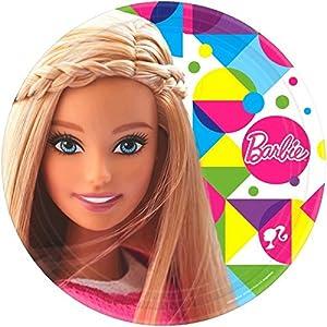 Amscan-551507-5523cm Barbie Sparkle platos de papel