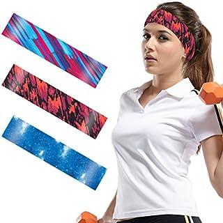 ANPHSIN 3Pack Dehnbar Sport Stirnband, Antibakteriell Schnell Trocknend Schweißbänder Kopf für Laufen, Radfahren, Yoga, Basketball (style1)