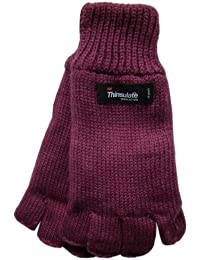 Ladies Fingerless Knitted Gloves Thinsulate Thermal Acrylic Available in 4 Colours Winter Warm