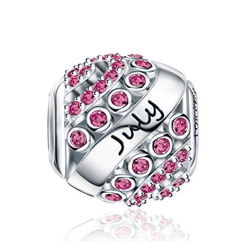 FOREVER QUEEN Juni Geburtsstein Charm Bead für Damen 925 Sterling Silber zum Geburtstag 12 Farben Jan- Dez Anhänger für Armband und Halskette FQ0004-7