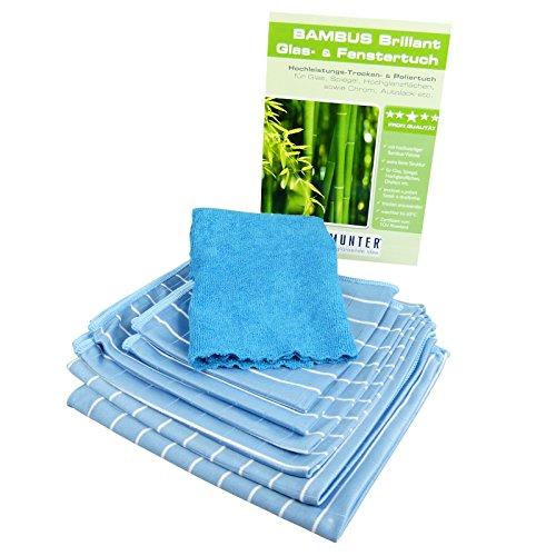Putzmunter Bambus Brillant Glas- & Fenstertuch 7 TLG. Bambustücher blau
