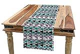 ABAKUHAUS Geometrisch Tischläufer, 80er Memphis Zick-Zack-Icons, Esszimmer Küche Rechteckiger Dekorativer Tischläufer, 40 x 225 cm, Lavendel-Kadett-Blau Schwarz-Weiß