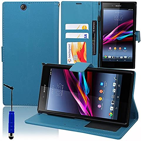 VCOMP® Housse Coque Etui portefeuille Support Video Livre rabat cuir PU pour Sony Xperia Z Ultra XL39H C6802 C6806 C6833 + mini stylet - BLEU