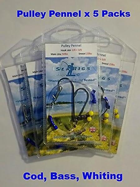 BEACH FISHING FLAPPER RIG 10 X SEA 3 HOOK SIZE 2//0