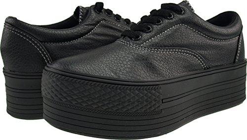 Maxstar C50, 5-Loch, Low-Top-Sneakers Freizeit Platform Boot TC-Black