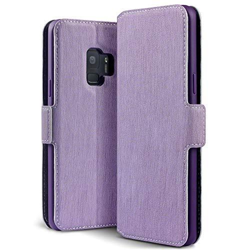 Samsung S9 Tasche, Terrapin Leder Tasche Case Hülle im Bookstyle mit Standfunktion Kartenfächer für Samsung Galaxy S9 Tasche - Lila