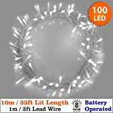 Fairy Lights 100 Bright White Christmas Tree Lights Indoor LED String Lights 10m/33ft Lit length - Battery Operated - 8 Functions - Ideal for Christmas Tree, Festive, Wedding/Birthday Party Decorations (100 LED 10m Clear Cable)