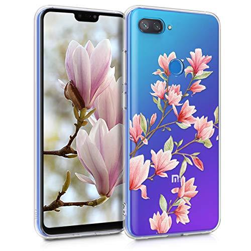 kwmobile Funda para Xiaomi Mi 8 Lite - Carcasa de TPU para móvil y diseño de Magnolias en Rosa Claro/Blanco/Transparente