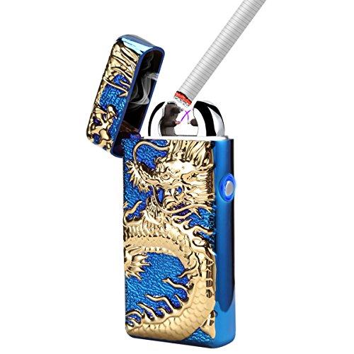 Sun _ Feuerzeug Dual Arc Beam Elektronische Feuerzeug USB aufladbare flammenlose winddicht Kerze Zigarette Dragon Feuerzeug mit Geschenk-Box, blau (Pilot-licht-schalter)