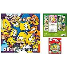 Set: Los Simpson, Calendario Oficial 2019 (30x30 cm) con 1x Vinilo Decorativo