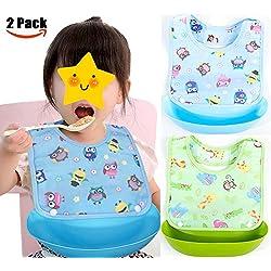 Suntapower 2 pcs Unisexos Baberos Impermeable EVA para Bebé con Dibujos Animados para Niños/Niñas de 6 Meses a 6 Años(baberos de bebé)