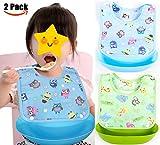Suntapower Jungen Mädchen Babylätzchen Weiches Wasserdicht Lätzchen aus Cotto passen Neugeborenes Wasserdichtes Baby Lätzchen mit Klettverschluss, Satz aus 2 Farben (Babylätzchen)