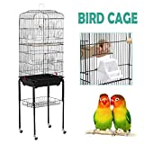 Yaheetech Rolling Large Bird Cage for Finch Budgie Lovebird Parrotlet Canary Medium Cage Cockatiel Quaker Parrot Sun Parakeet Green Cheek Conure with Perch Stand and Wheels 46L x 35.3W x 150.6H (cm)