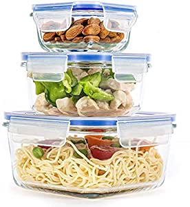 OM KRAFT SALEs [ 800ML + 600 ML + 350ML ] -Glass Meal Prep Containers Locking Lids Glass Food Containers,Airtight Lunch Container,Microwave, Oven, Freezer and Dishwasher Safe (3)
