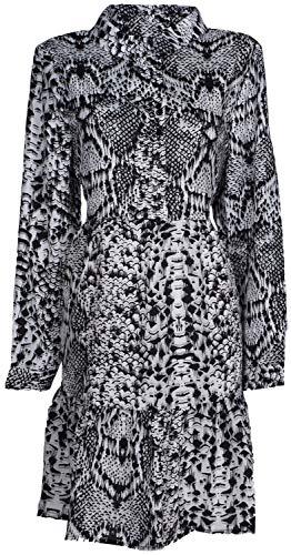 styleBREAKER Damen Minikleid langärmlig mit Schlangen Animal Print Muster, Blusenkragen und Knopfleiste, Rüschen, Tunika, Kleid 08010061, Farbe:Grau-Schwarz-Weiß, Größe:S -