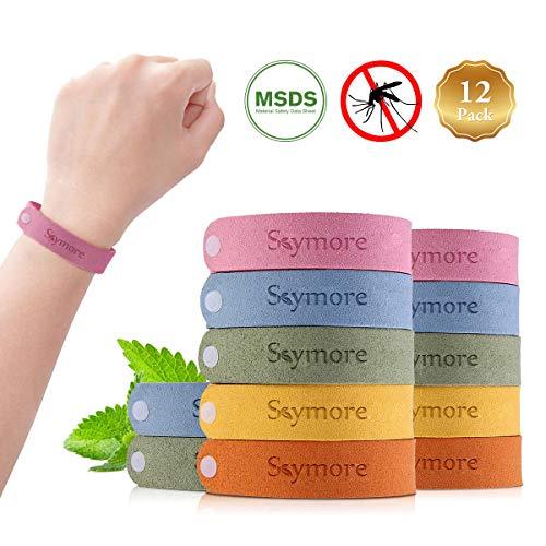 Skymore Pulseras Repelente de Mosquitos,  Pulseras Antimosquitos,  Pulseras Anti- Mosquitos de 12pcs Para Adultos y Niños,  Materias Naturales