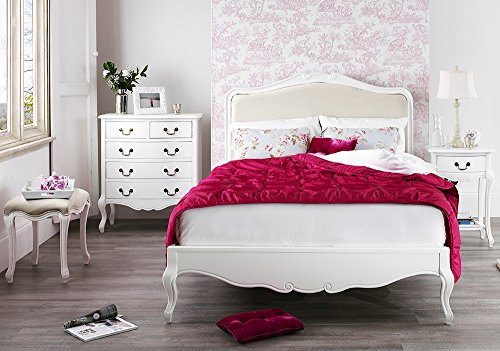 Shabby Chic Antique White Upholstered 5ft King Bed, Stunning White French bed. Quality