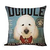 Comfot Quadratisches Kissen Umfasst Baumwoll-Und Leinen Kissen Zu Hause Für Sofa-Bett Sessel 43X43cm 1Pcs-Niedliches Hunde Muster,Style1