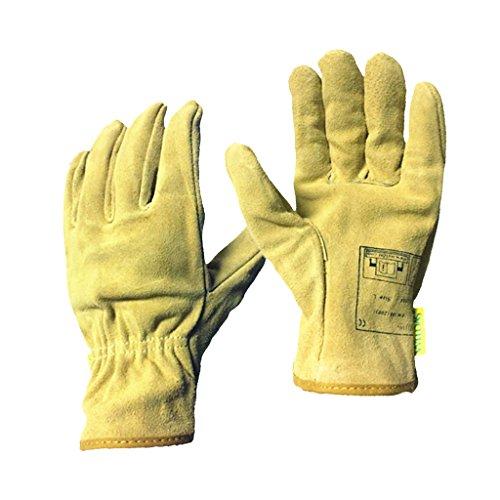 Gazechimp Kurz Hitzebeständige Handschuhe Schweißerhandschuhe Arbeitshandschuhe Sicherheitshandschuhe für Schweißen Hellgelb