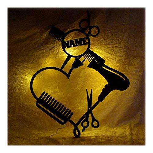 Schlummerlicht24 Led Holz Möbel Deko Friseurin-Geschenk Salon Herz Lampe Nachtlicht lustige witzige Haar-Schneide Frauen-Geschenke mit Name-n
