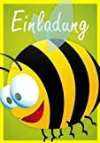 Einladungskarten Kindergeburtstag Kinder Mädchen und Junge mit Innentext Motiv Biene 12 Karten im Postkartenformat DIN A6 mit Umschlägen Einladung Geburtstag Kinder (K10)