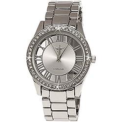 NY London designer Mirror Damenuhr mit Glasboden Exclusive Damen Strass Uhr Silber inkl.Uhrenbox