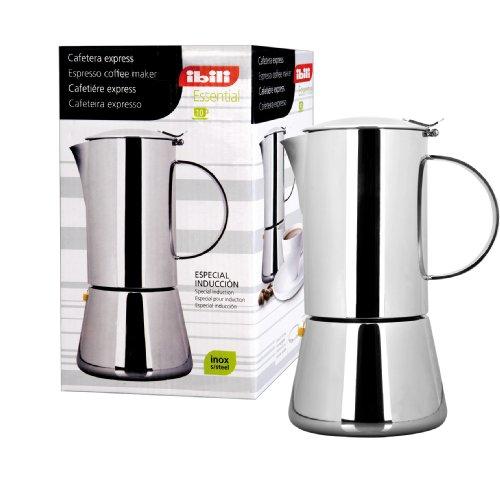 Ibili Essential 620304 4 Tassen Kaffeemaschine Express, Edelstahl 18/10