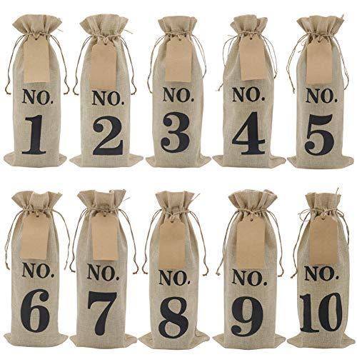 Estas bolsas de vino de arpillera numeradas de 1 a 10 son con 10 etiquetas de papel kraft y cuerdas de yute. Durable y adorable, vintage también elegante. Ideal para degustación de vino, decoración de boda, botella de cristal, regalos u otras formas ...