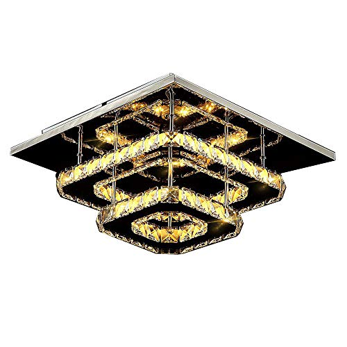 Amber Glas Schneiden (HOMECR Moderne Led-Deckenleuchte Platz Kristall Glanz Luminarias para Sala Led Lampen Für Home Gang Korridor Balkon Küche Leuchten Amber Crystal- Warm Light)