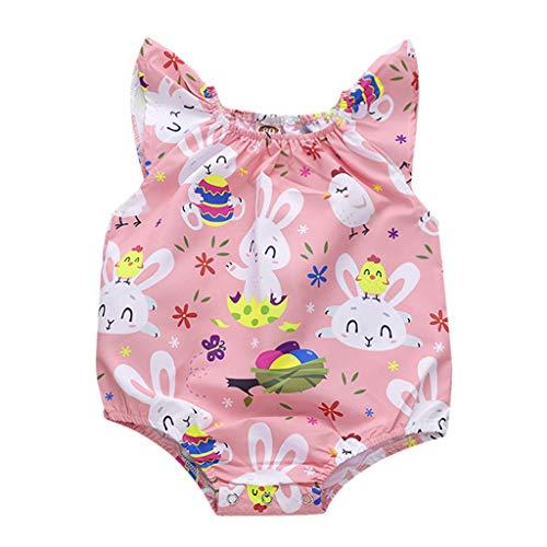 Lucky Mall Ostern! Kleinkind Kid Rabbit gedruckt Rüsche Bodysuit, Baby Cartoon Strampler Sommer Kostüm ()