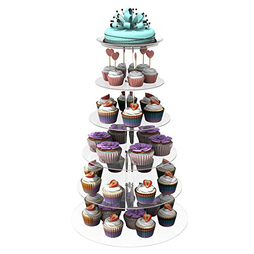 Scallop Kuchenständer, Kuchen Stehen 6-Stufig Acryl Halten Cupcakes Desserts für Hochzeitstorte Geburtstag Feier Party mehrschichtiger Kuchen Ständer, Rund