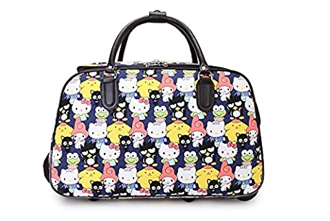 LeahWard® Women's Small Size Holdall Luggage Travel Bag With Wheel Hand Luggage Holiday Bags (KITTY CAT)