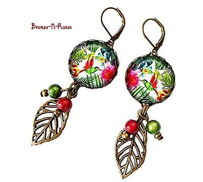 Boucles d'oreilles Fleurs tropicales oiseaux cadeau bijou fantaisie vert rouge