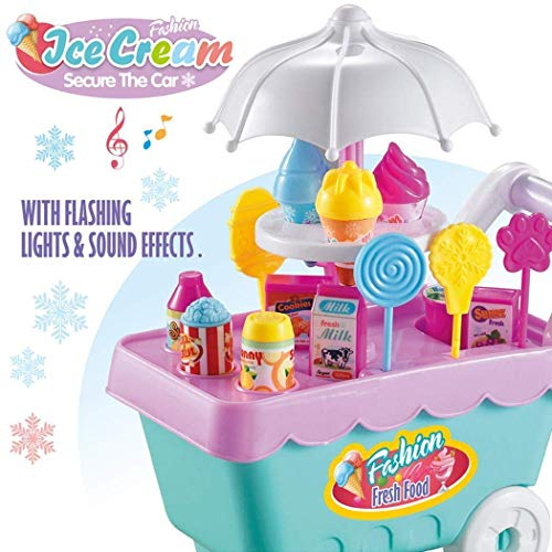 BIMAGE Children Rotating Ice Cream Trolley Toys Candy Pretend Play Food Supermarket for Girls Boys
