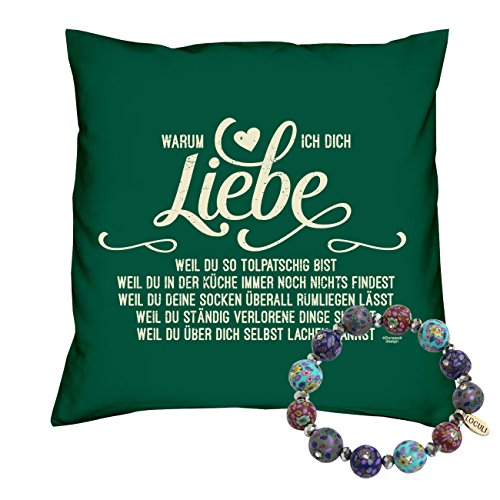 59 Dunkelgrün (Schmuck Armband & Kuschelkissen -:- Warum ich Dich liebe -:- Geschenk zum Valentinstag Jahrestag Geburtstag Weihnachten Kissen: 40 x 40 cm Farbe: dunkelgrün #59)