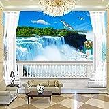 Tapete Wandbild 3D Balkon Roman Column Hintergrund Wandmalerei Wohnzimmer Wasserfall Naturlandschaft Foto Tapete 3D Dekoration (W)140X(H)100Cm