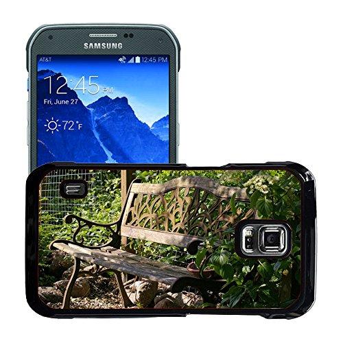 Hülle Case Schutzhülle Cover Premium Case // M00290833 Garten-Bank Bank Lehne Sitz Holz // Samsung Galaxy S5 Active SM-G870A (Not Fit S5)