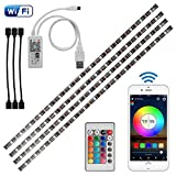 4 x 50cm WIFI USB LED Light Strip RGB Smart App Control TV flessibile Sfondo Light Strip Funziona con Alexa e Google Home con telecomando IR