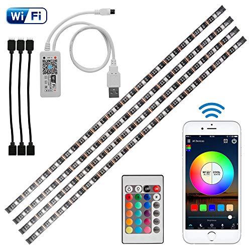 4 x 50 cm WiFi USB LED-Lichtleiste RGB-Smart-App-Steuerung Flexible TV-Hintergrundstreifen mit IR-Fernbedienung