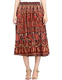 Exotic India Sanganeri Midi Skirt With Printed Elephants And Peacocks
