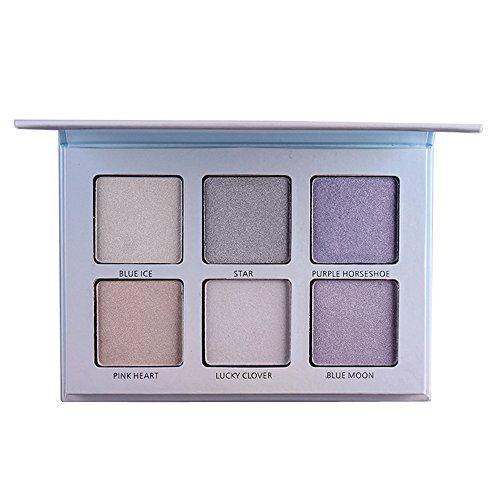 Fards à paupières,6 couleurs Eyeshadow Palette Poudre Éclairage élevé-Lonshell (bleu clair)