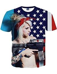 Yonbii Fashion Unisex 3D Print Sexy Girl with Gun à manches courtes / Hauts décoratifs pour hommes