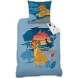 Rey León–Juego de cama: funda de edredón (140x 200) + funda de almohada (63x 63)–100% algodón–Kion