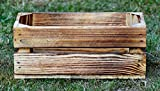 El Natural - Produkte aus der Natur Holzkiste geflammt 40 x 20 x 16 cm Natur Blumentopf Blumenkasten Regal Aufbewahrung Obst Holz Kiste