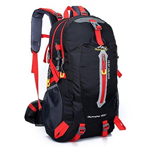 Zuoao 40L Damen Herren Trekking Fahrradrucksack ,Wasserdichter Wanderrucksack Reiserucksack Rucksack für Outdoor Trekking Camping, Wandern, Reisen und Bergsteigen Schwarz