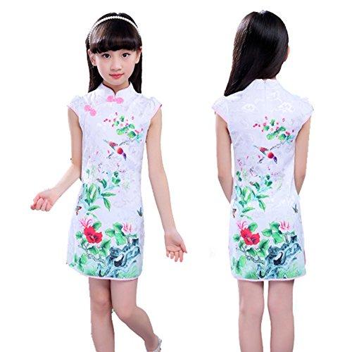 Wgwioo Cheongsam Stickmädchen Kleider Kinder Prinzessin Rock National Tanz Kostüme Klassische Bühne Aufführungen Chor Gruppe Team, 3#, 150Cm