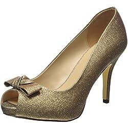 MENBUR Coulanges, Damen Peep-Toe Pumps, Gold (Sand), 37 EU