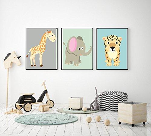 Prints 3er Set Format A3 Giraffe Elefant Leopard Bild Kinderzimmer Wanddeko ohne Rahmen