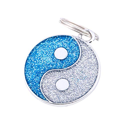 EUCoo Hundemarke Hundehalsband AnhäNger Niedlich Klatsch Tai Chi Carving GläNzend Haustier Id Namensschild Haustier Halskette(Blau) - Klassische Carving